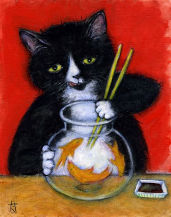 Hungry Tuxedo cat and Goldfish Bowl. Charlie's Sashimi Time. ACEO print