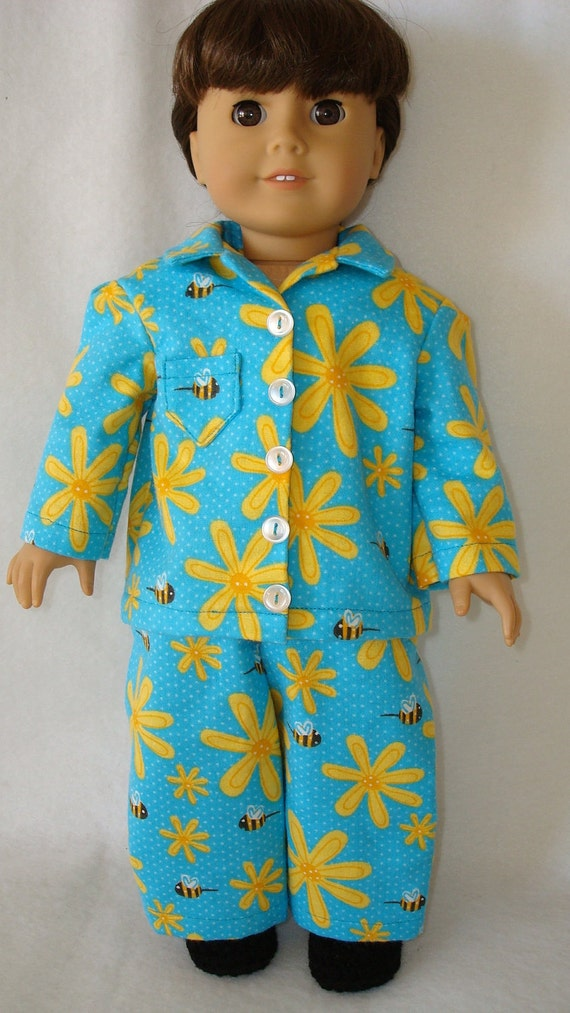 """American Girl doll clothes/ Flowers and Bees/ flannel pajamas and slippers/READY TO SHIP/4piece set fits 18"""" american girl doll"""
