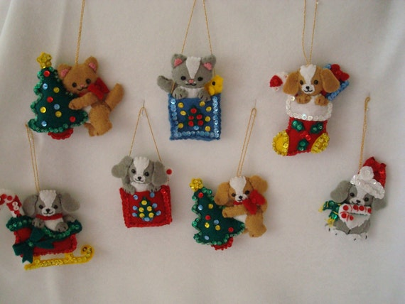 Puppies and kittens oh my\/set of 7 felt ornaments