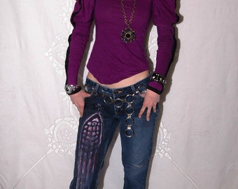 DIY Purple Cathedral Stained Glass Goth Pants Express Destroyed Jeans Sz 4