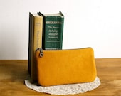 Eco-friendly faux suede pouch in honey