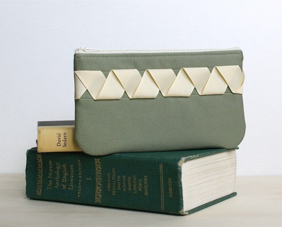 Handmade Zipper Pouch- Ribbony Pouch in Sage and Cream