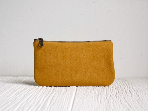 Vegan Clutch Zipper Purse Mustard Clutch Honey Yellow Bag