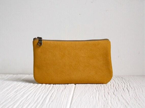 Vegan Clutch, Zipper Purse, Mustard Clutch, Honey Yellow Bag
