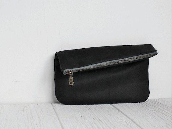 Fold Over Vegan Clutch in Black