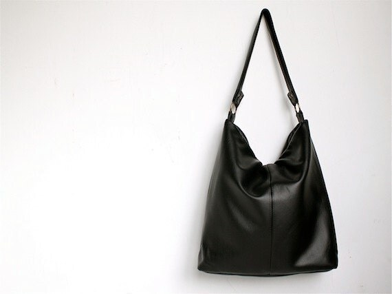 Tote in Black Vegan Leather, Bags and Purses, Tote bag
