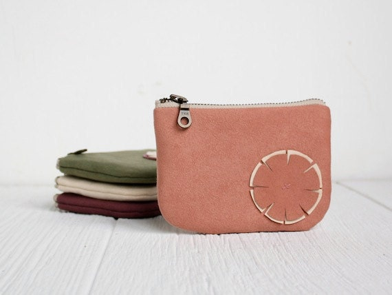 Ipod Zipper Pouch in Adobe Pink with Flower
