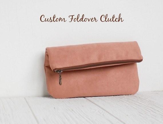 Custom Fold Over Vegan Clutch