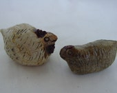 A Pair of Hand-formed Chicks No. 2, Hens Sculptures