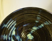 Glossy Black Serving Bowl with Blue Rutile Accents