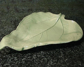 Large Leaf Plate in Celadon