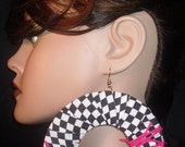 Large O-MY's in Checker Print with Pink net accents
