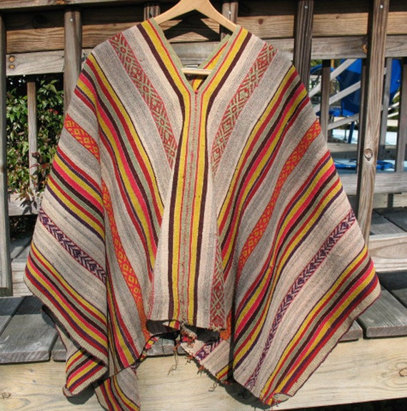 Reserved for Bronwyn Bolivian Poncho Ethnic Textile Vintage Just Reduced