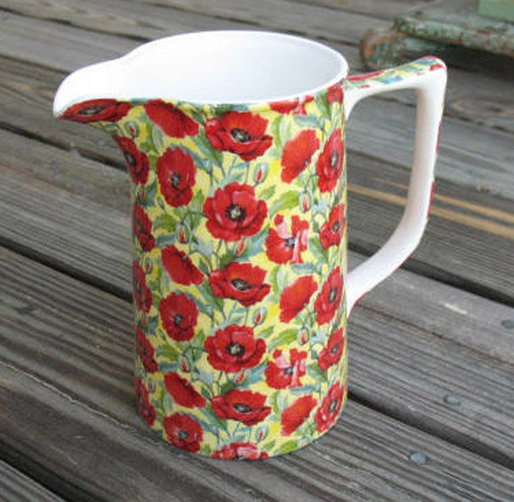 Large Pitcher with Poppies Made in England