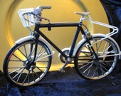 Model Bicycle.  Vintage Scale Model with White Accents and Basket. Free Standing with Kick Stand and Moving Parts.