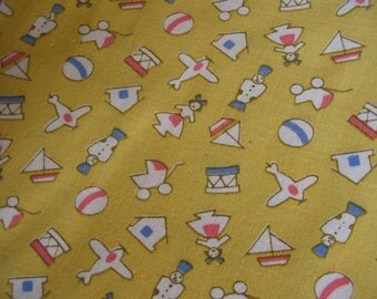 Vintage Fabric,  Yellow Toy Print, Aunt Gracie by Marcus Bros, Hard to Find, Fabric by the Yard, Yellow Vintage Fabric, Toy Fabric