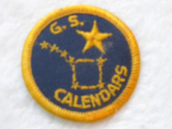 Rare Vintage Girl Scout Calendar Patch.