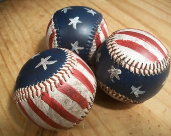 Distressed Patriotic/American Flag Baseballs - Americana - Red, White & Blue