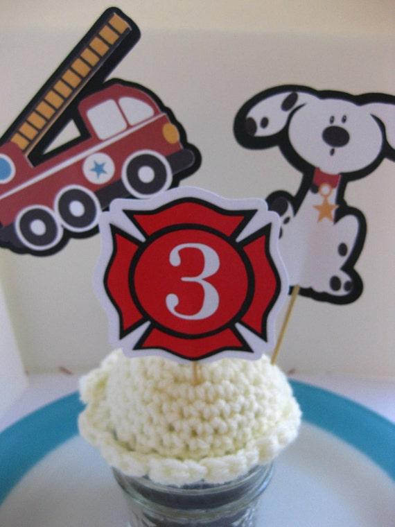 Fireman Theme Cupcake Toppers Fire Truck Dalmatian Shield