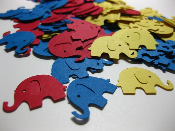 150 Primary Yellow Blue Red Elephant Die Cuts Confetti