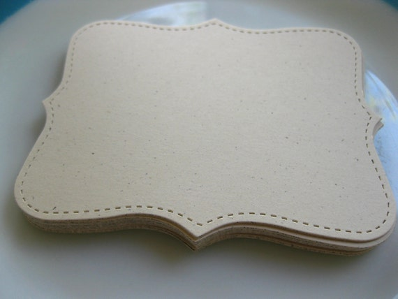 24 Large Natural Ivory Top Note Bracket Tag Card 4.5 Inch