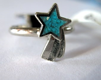 Silver and Tourquoise star ring