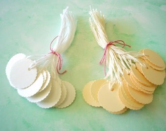PrestrungTags - 1 Inch Round Scalloped -Ivory - FREE Secondary Shipping