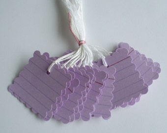 50   Lined  Cardstock Tags - 1.5 inch  Square Scalloped Tags -  Free Secondary Shipping