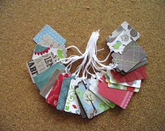 Sale - 25 -  PreStrung Paper Tags - DCWV  Green  Stack Patterns  - Free Secondary Shipping