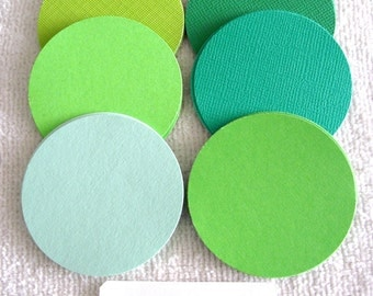 ONE  DOLLAR SALE - 25 - 2 Inch  Paper/Cardstock  Circles - Shades of Green -Free Secondary Shipping