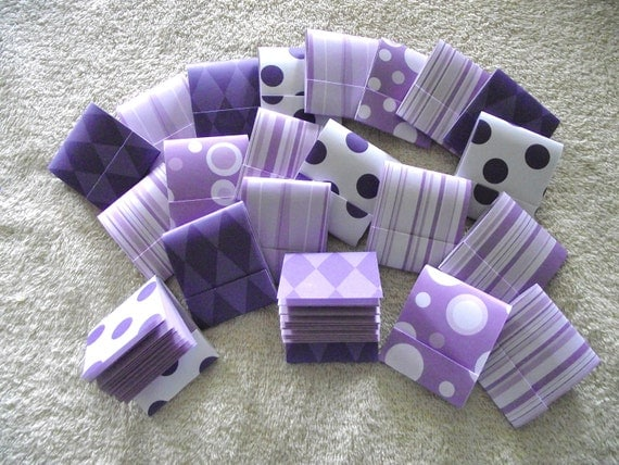 RESERVED Listing  For  GAIL CAMPELLONE  -  90 Matchbook Note Pads- Purple Polka Dots and Stripes - 12 Extra Large Sheets