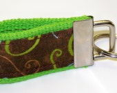 Mini Finger Fob Keychain - Lime Green with Chocolate Swirl
