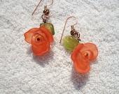 Orange Sherbert Rose Earrings