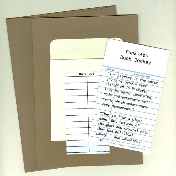 Punk-Ass Book Jockey Card and Envelope in brown sugar - Inspired by Parks and Recreation. Free shipping to Canada and U.S.
