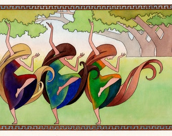 Dance of the Three Graces. Art print of original painting in pen, ink and watercolor.