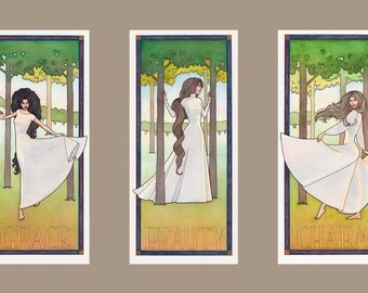 The Three Graces: Grace, Beauty, Charm. A set of three art prints, from original watercolor paintings.