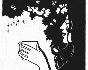 Morning Cup IV: Original hand-pulled linoleum block print. Morning, serenity, peace, beauty, and coffee.