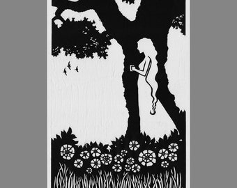 Goddess In the Garden: Original hand-pulled linoleum block print on Japanese Hosho paper. Beauty, grace, spirit in nature.