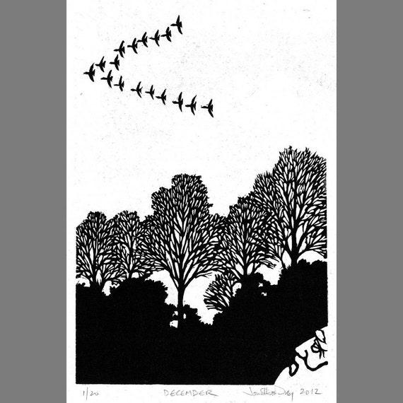 December: Original Linoleum Block Print on Japanese Hosho paper.
