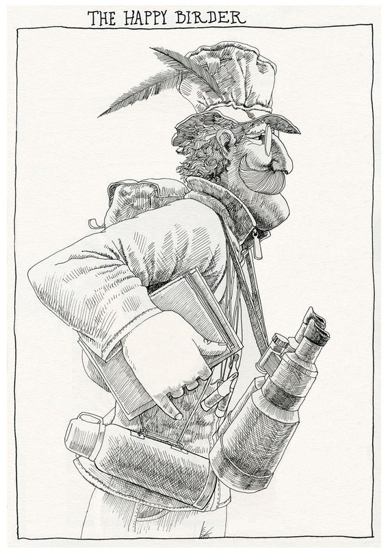 The Happy Birder. Art print of original pen and ink drawing.
