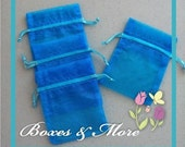 Wedding Favor Bags -  Turquoise Organza Bags - Set of 60 Bags - 4x6inch - Jewelry bags - Candy Bags - Baby Shower Favor Bags