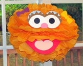 "Orange Monster tissue paper pompom kit, inspired by ""Zoe"" from Sesame Street"