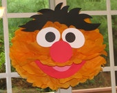 "Orange Monster tissue paper pompom kit, inspired by ""Ernie"" from Sesame Street"