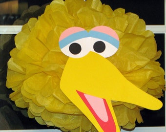 "Yellow Bird tissue paper pompom kit, inspired by ""Big Bird"" from Sesame Street"