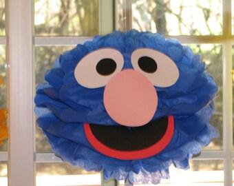 """Blue Monster tissue paper pompom kit, inspired by """"Grover"""" from Sesame Street"""