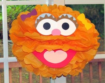 """Orange Monster tissue paper pompom kit, inspired by """"Zoe"""" from Sesame Street"""