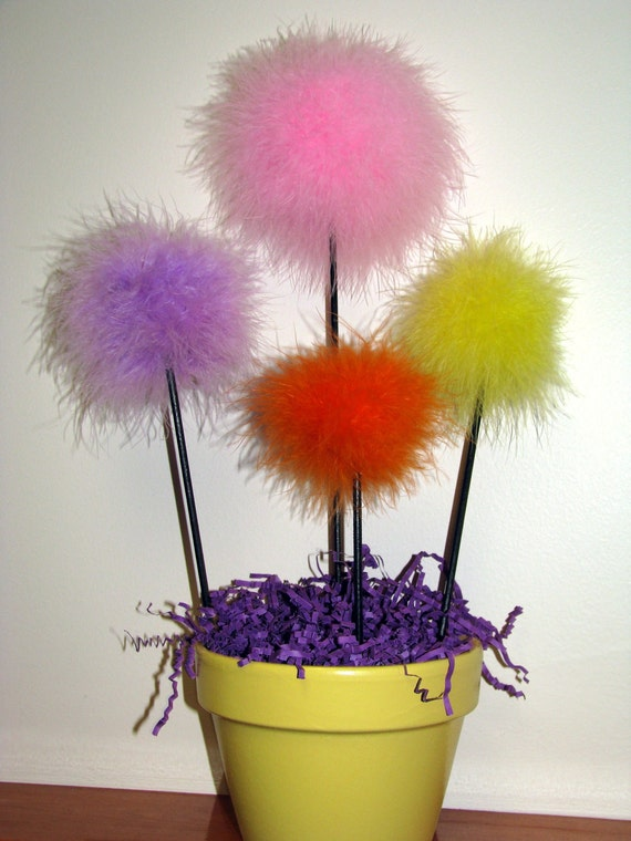 Marabou feather puff topiary centerpiece, can also be made in other colors