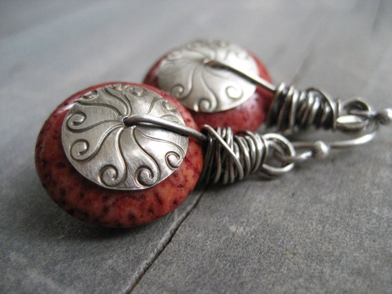 alainn red coral earrings