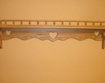 Country Heart Oak Shelf with ledge or w/o ledge