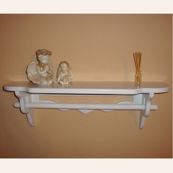 Deep Quilt Rack Shelf - White Wooden  /  take orders any size